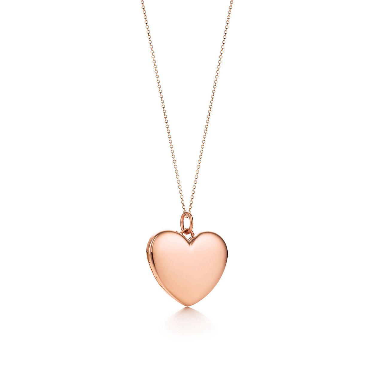 Heart locket pendant in 18k rose gold large tiffany co heart locket pendant heart locket pendant mozeypictures Images