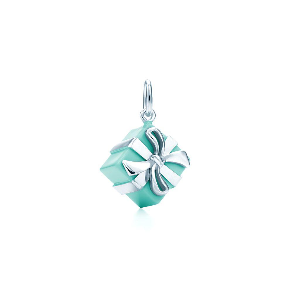 co silver blue enamel gift box charm present charm