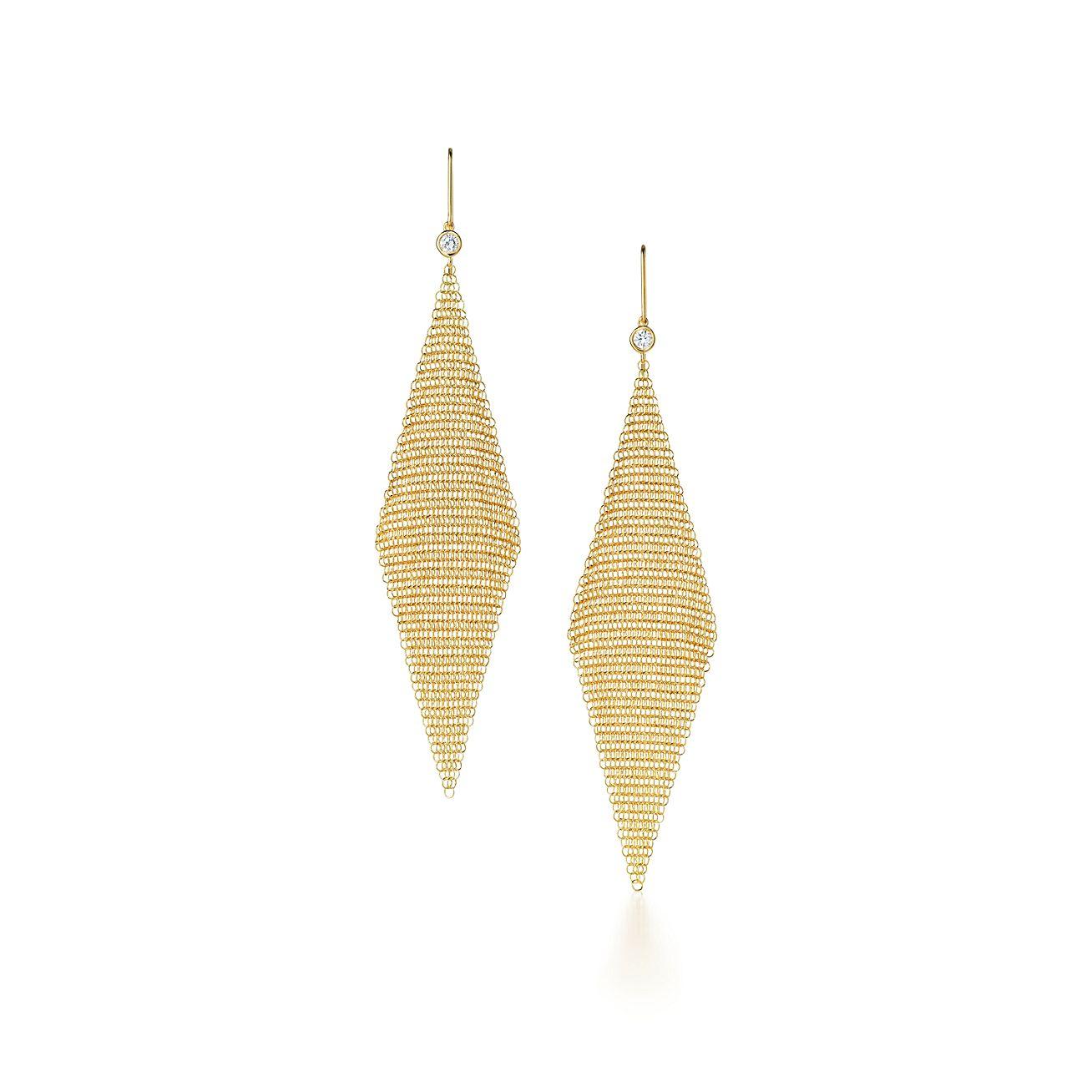 Elsa Peretti® Mesh earrings in 18k gold with diamonds, large ...