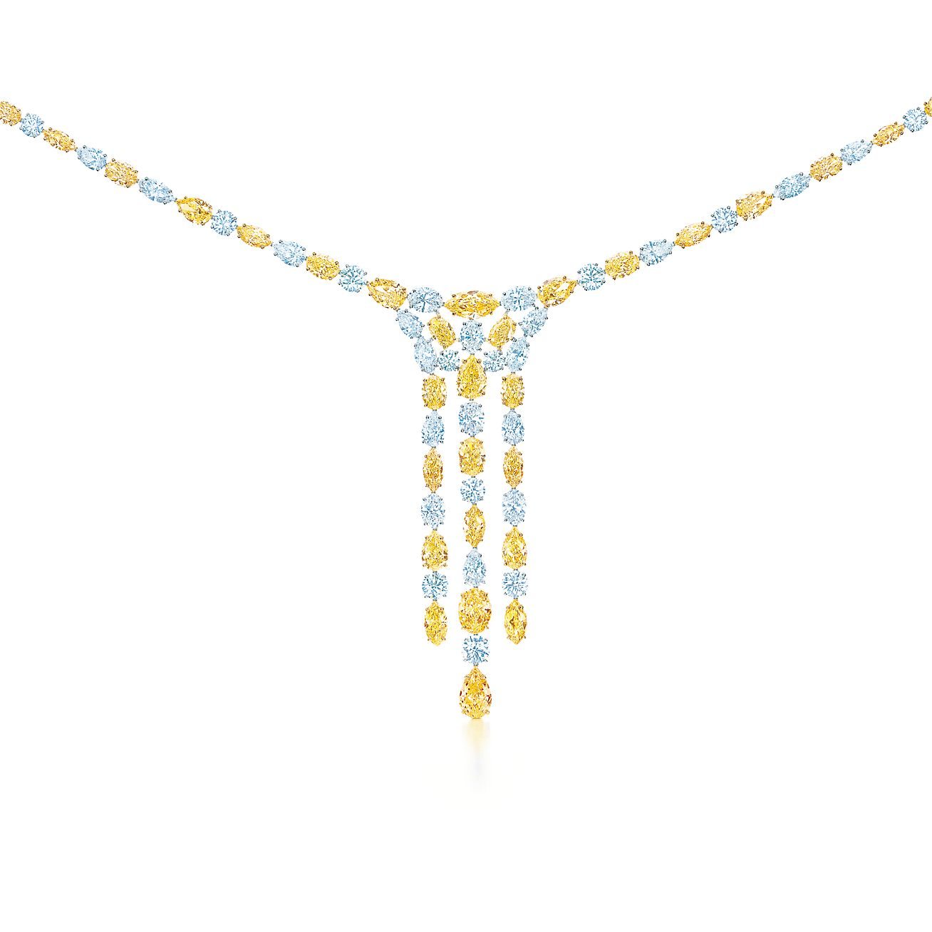 Cascade necklace in platinum with yellow and white diamonds cascade necklace cascade necklace mozeypictures Image collections