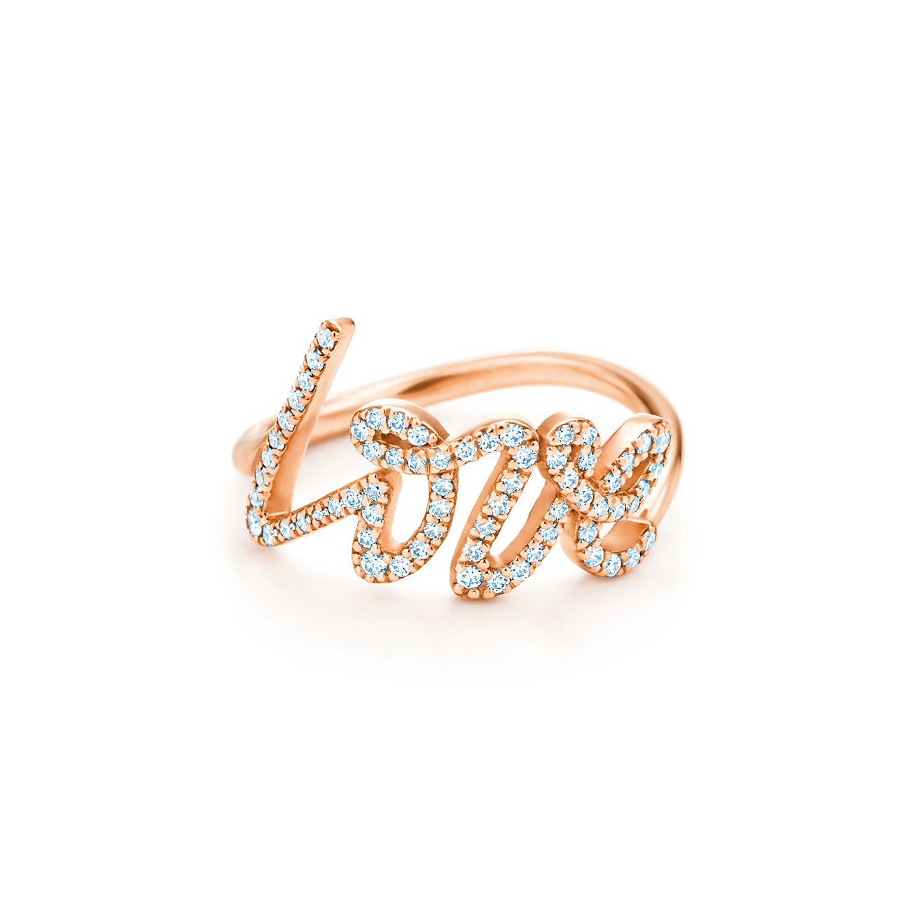 Paloma\'s Graffiti love ring in 18k rose gold with diamonds, small ...