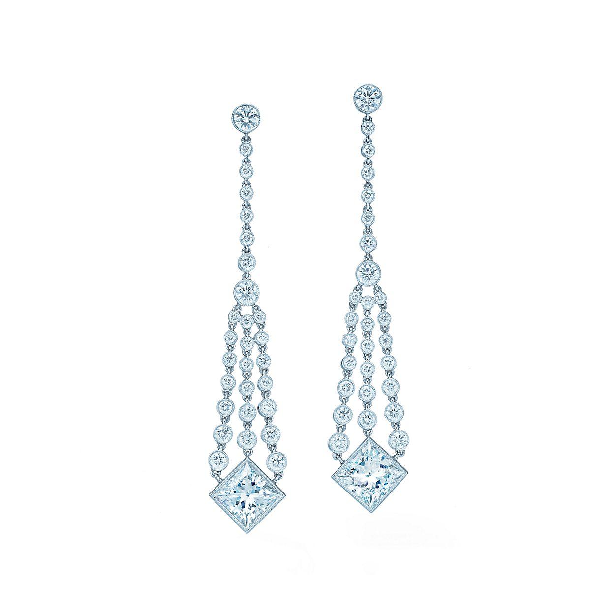Diamond chandelier earrings of princess cut and round diamonds in diamond chandelier earrings diamond chandelier earrings arubaitofo Choice Image
