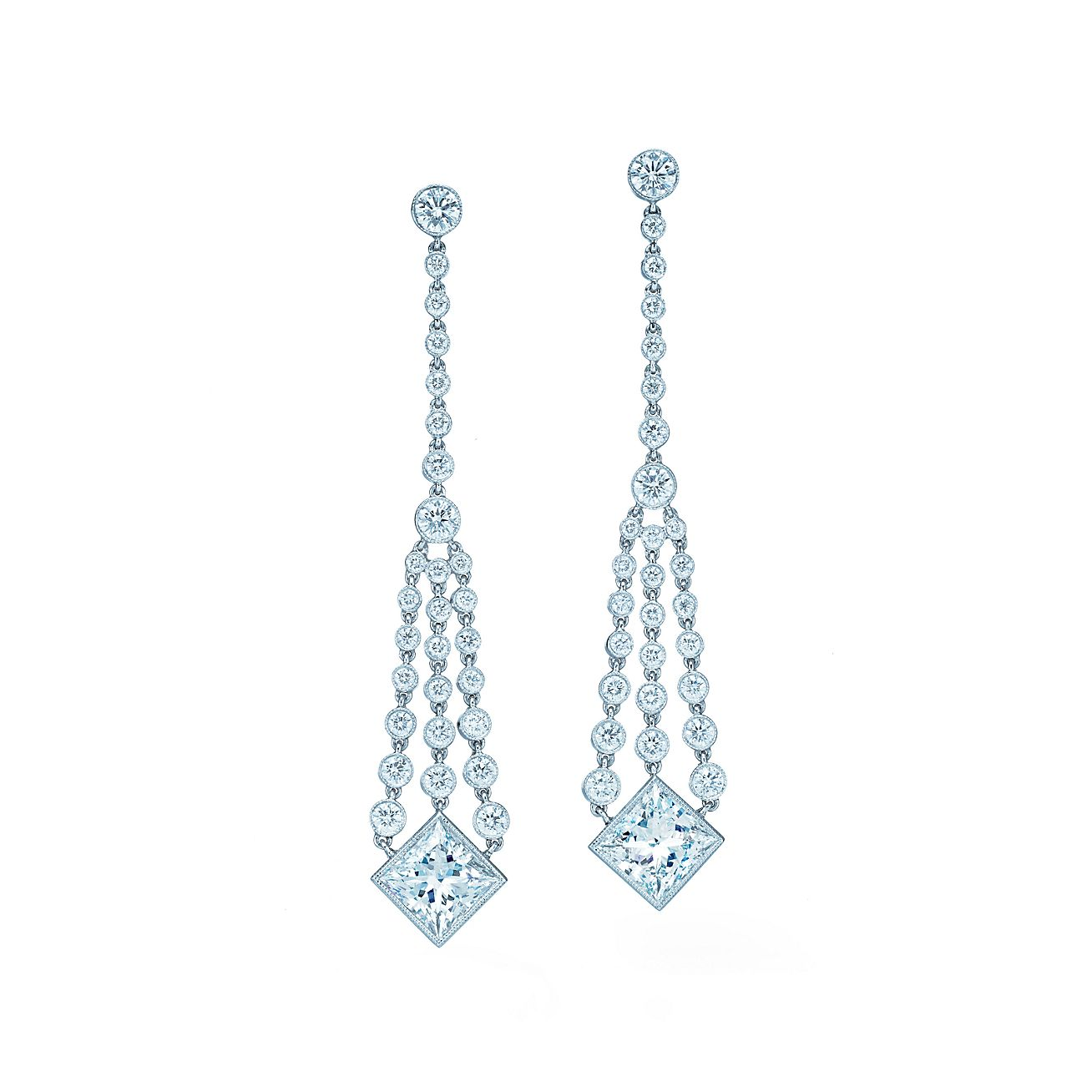Diamond chandelier earrings of princess-cut and round diamonds in ...