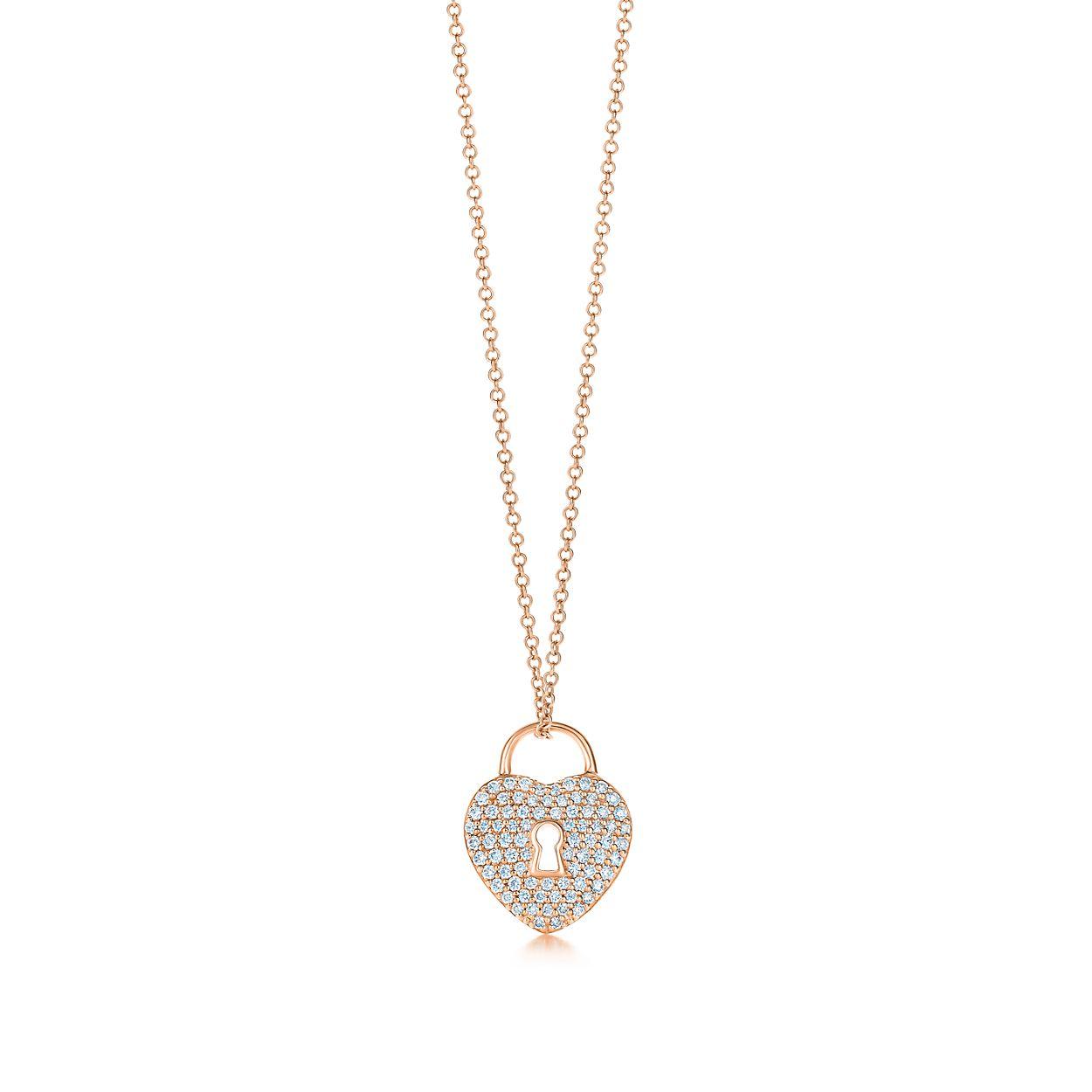 18k rose gold and diamond heart lock pendant tiffany co tiffany locksheart lock pendant tiffany locksheart lock pendant aloadofball Gallery