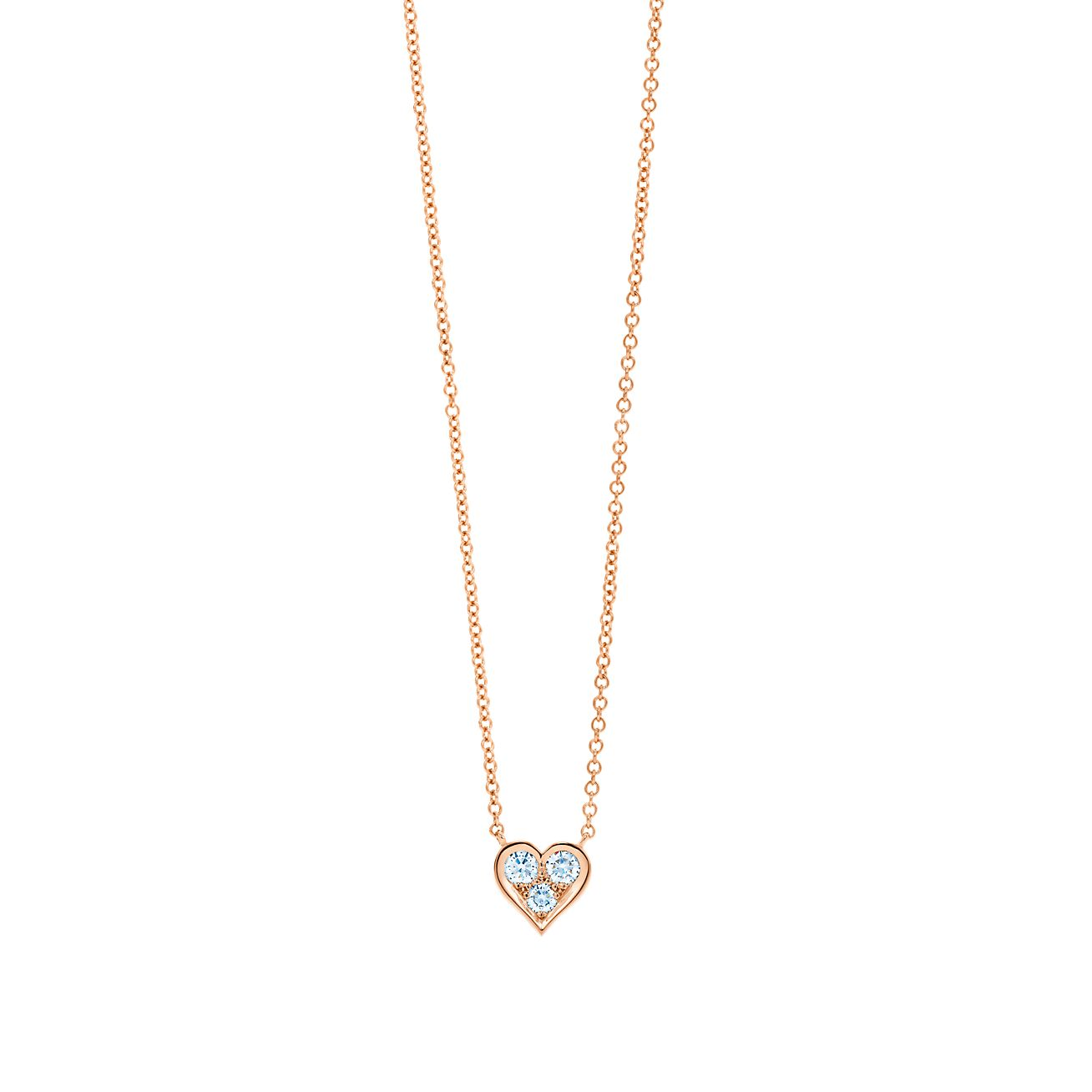 Pendant in 18k rose gold with diamonds tiffany co diamond heart pendant mozeypictures Gallery