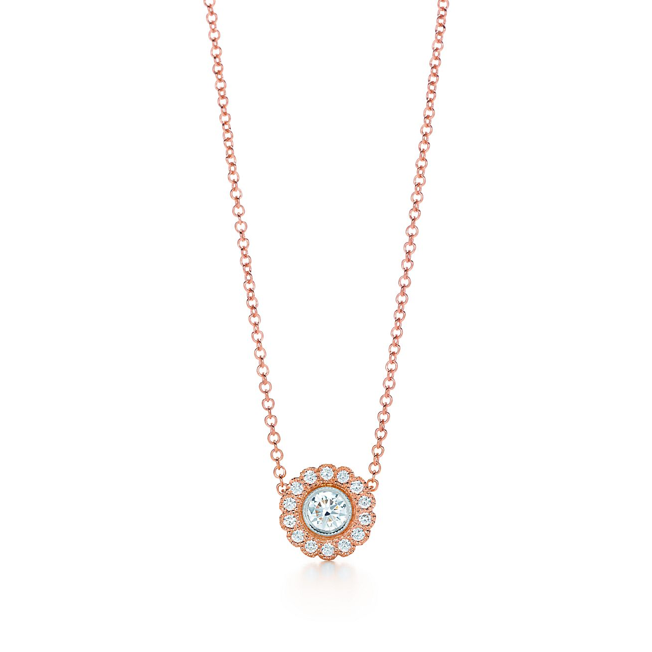 Tiffany enchant flower pendant in 18k rose gold and platinum with tiffany enchantflower pendant mozeypictures Image collections