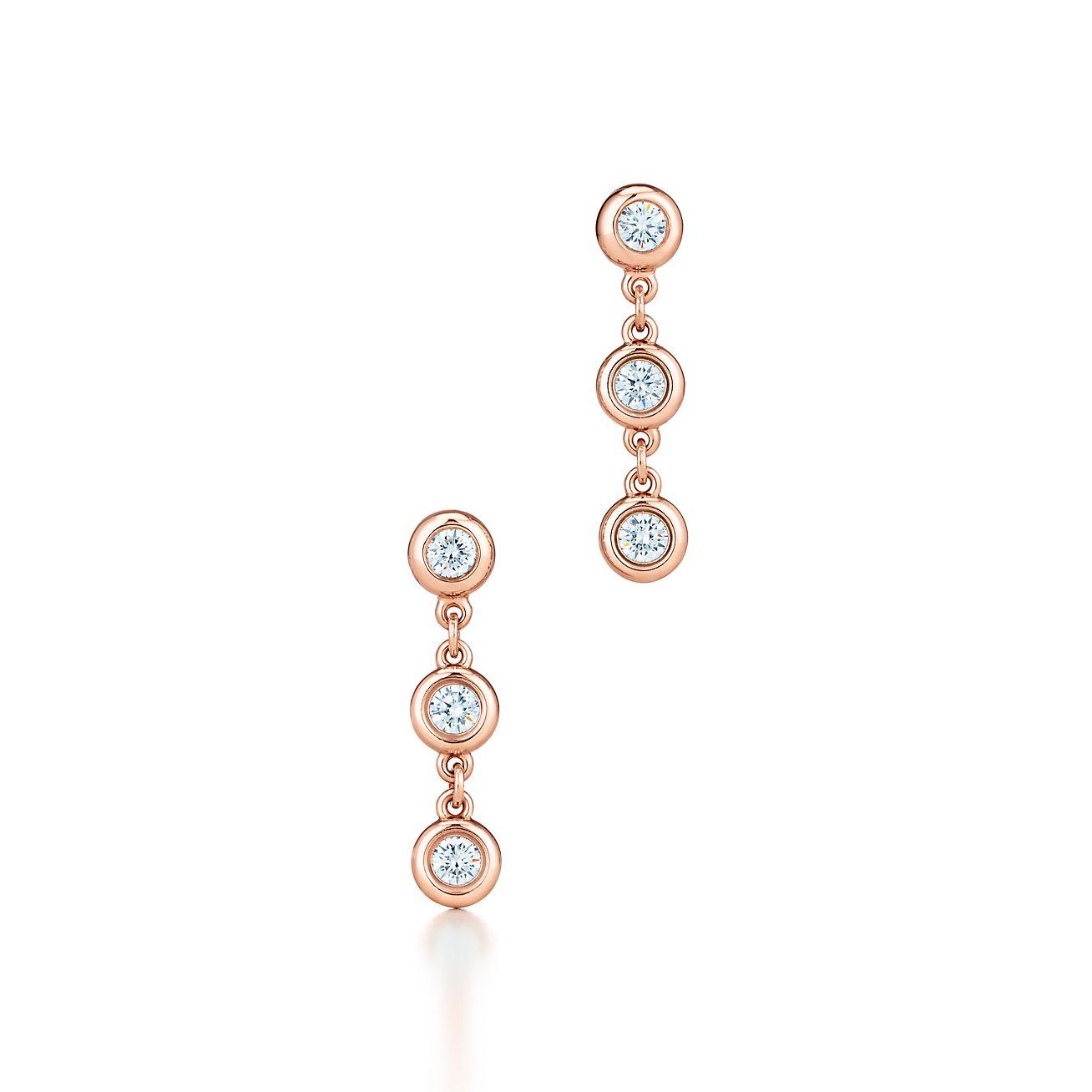Elsa Peretti Diamonds by the Yard Open Heart earrings in 18k rose gold Tiffany & Co.