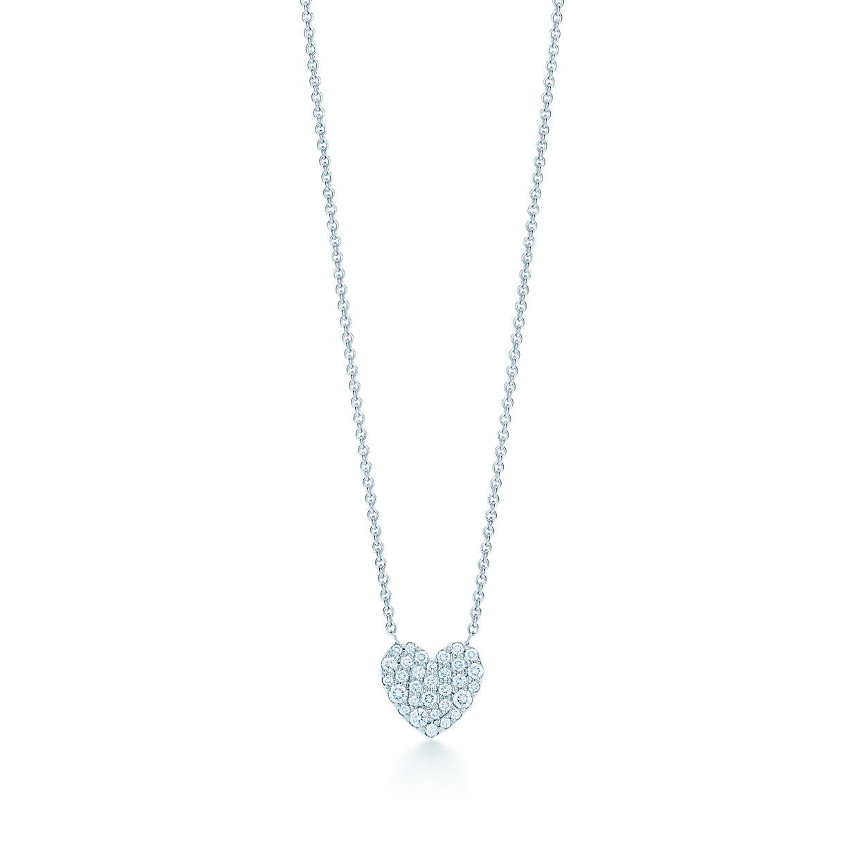 18kt white gold diamond heart necklace tiffany co heart pendant heart pendant aloadofball Image collections