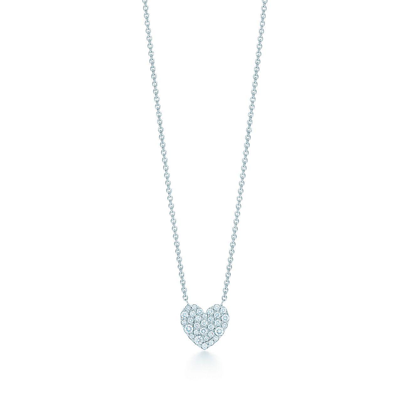 18kt white gold diamond heart necklace tiffany co heart pendant heart pendant mozeypictures Images