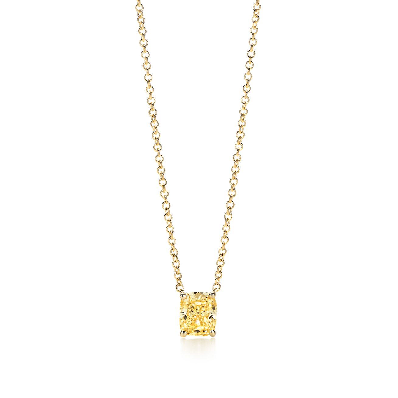 Tiffany cushion cut yellow diamond pendant tiffany co cushion cut yellow diamond pendant mozeypictures Images