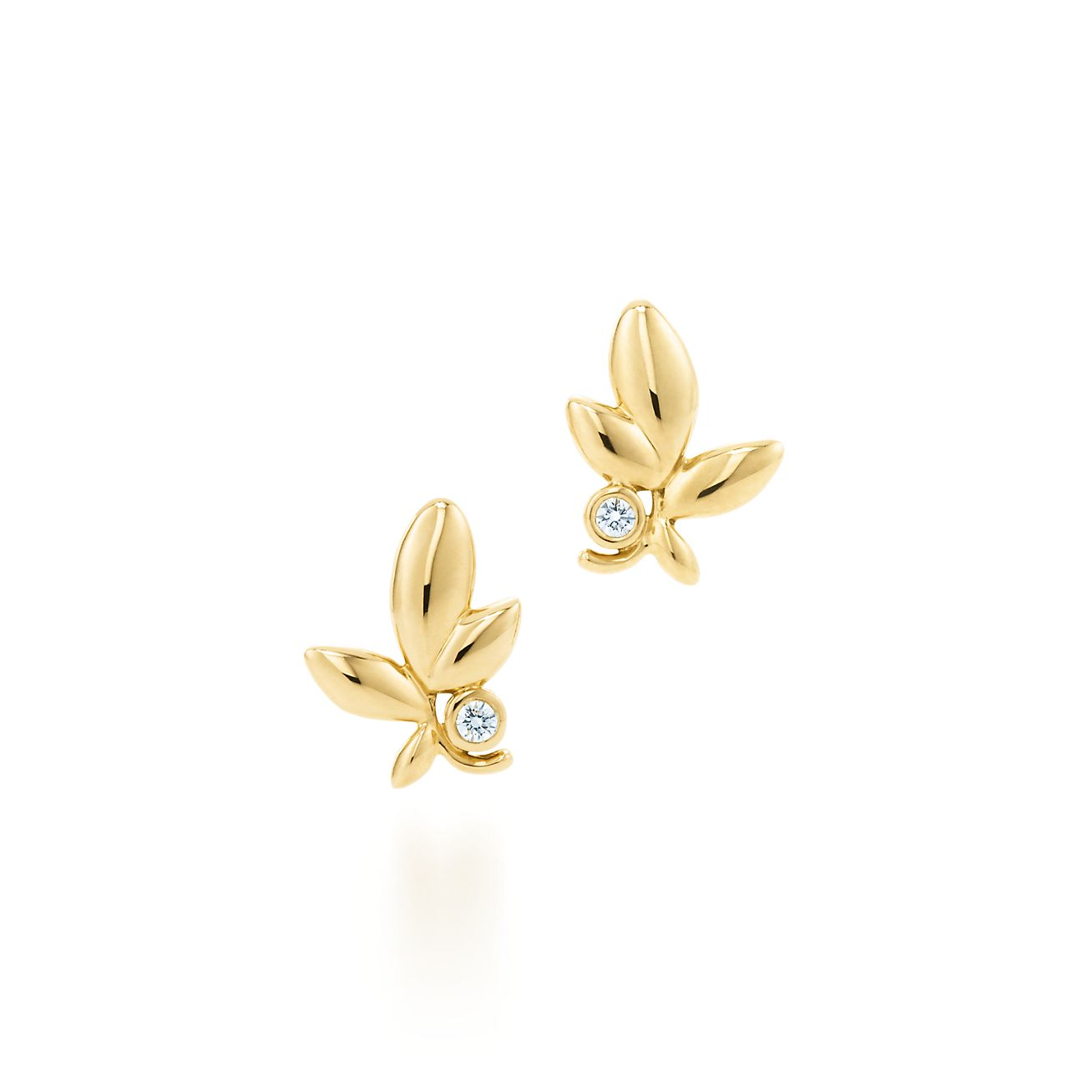 Paloma Picasso® Olive Leaf earrings in 18k gold with diamonds ...