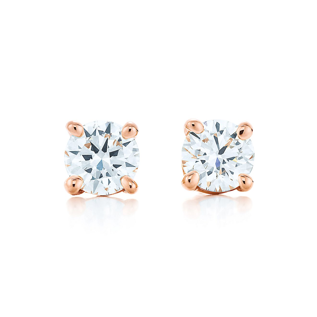 Tiffany Solitaire Diamond Earrings Rose Gold