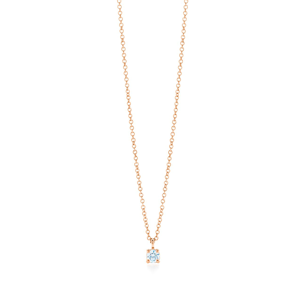 Tiffany solitaire diamond pendant in 18k rose gold tiffany co tiffany solitaire diamond pendant aloadofball Image collections