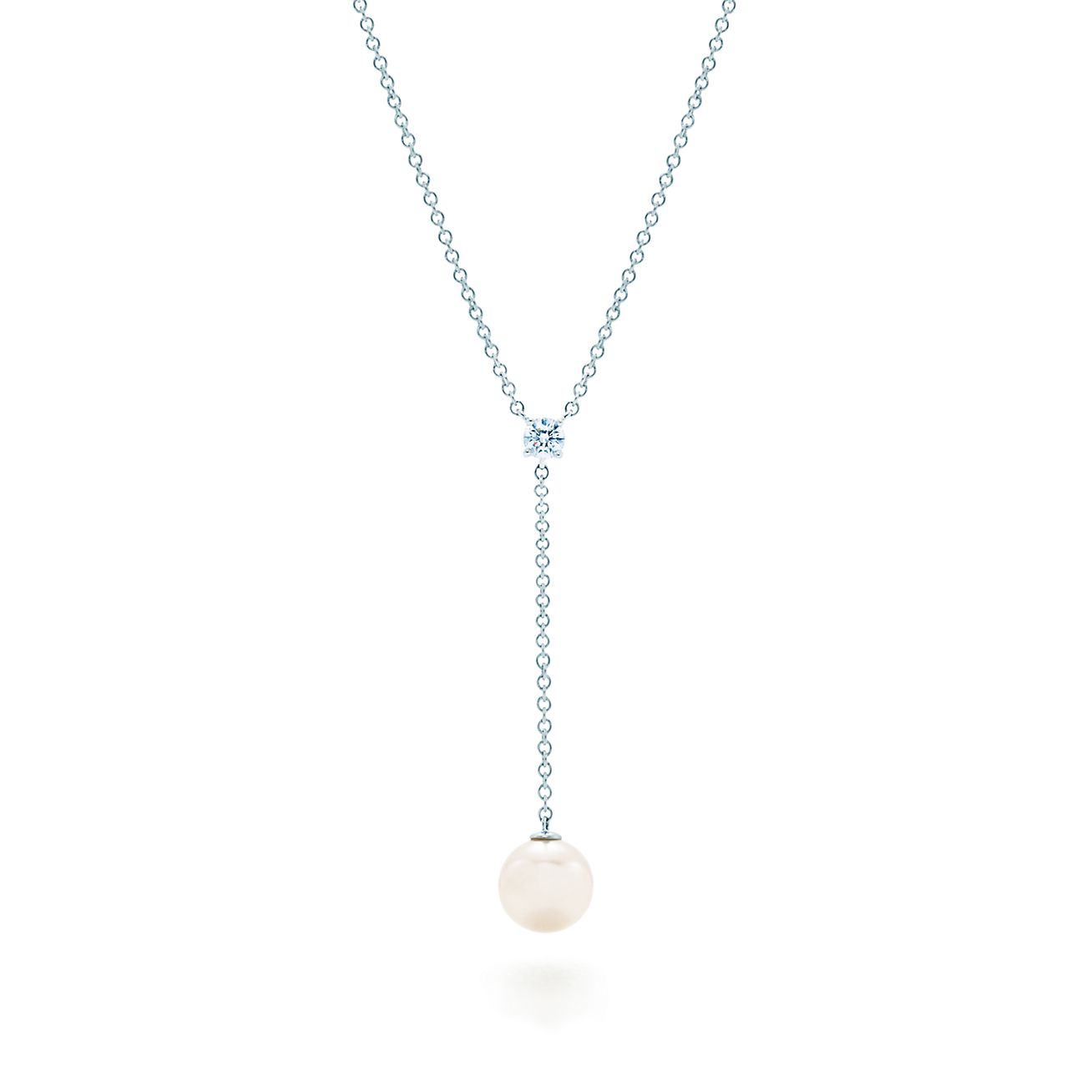 Tiffany signature drop pendant in 18k white gold with a pearl and tiffany signaturedrop pendant aloadofball