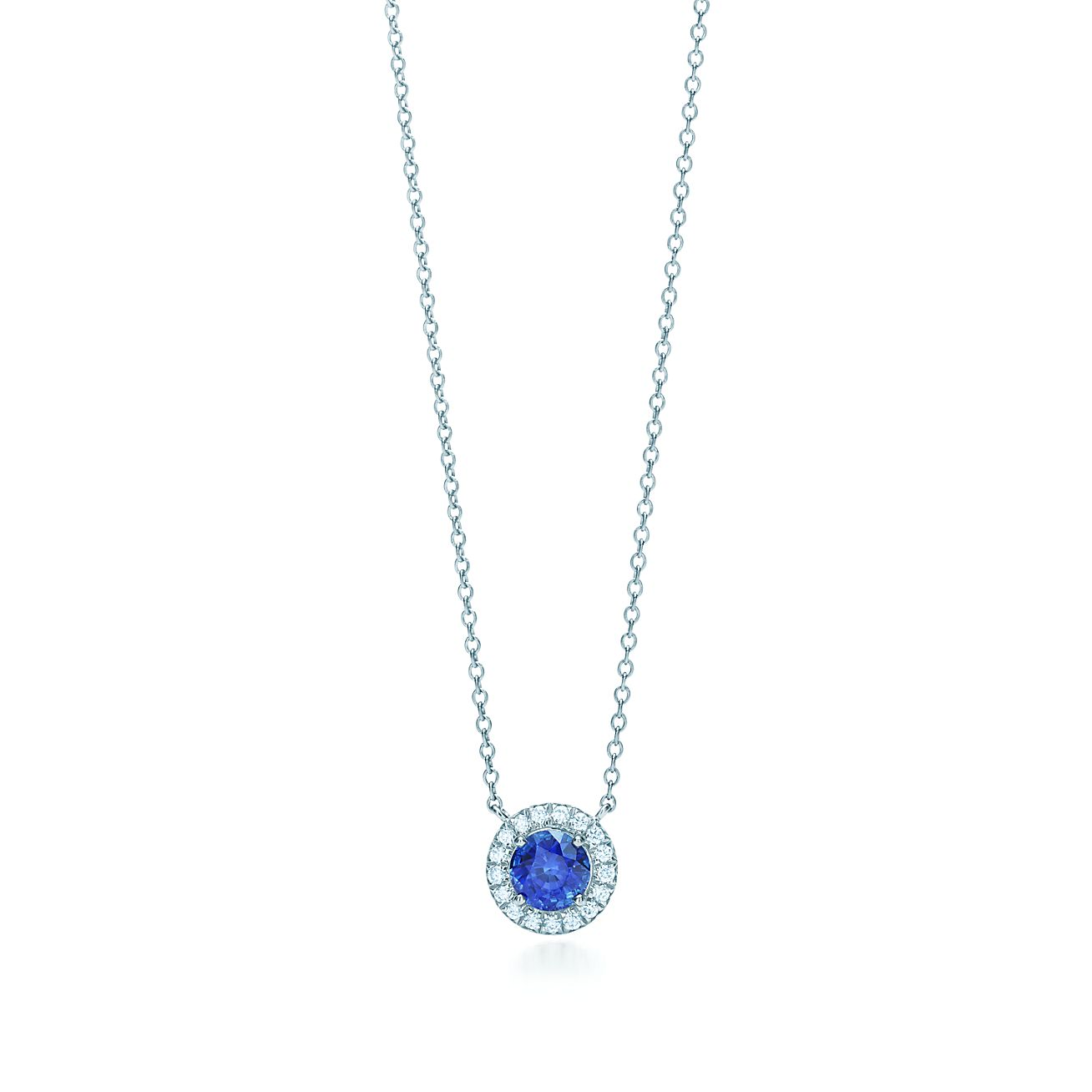 Tiffany soleste pendant in platinum with a sapphire and diamonds tiffany solestesapphire and diamond pendant aloadofball Image collections
