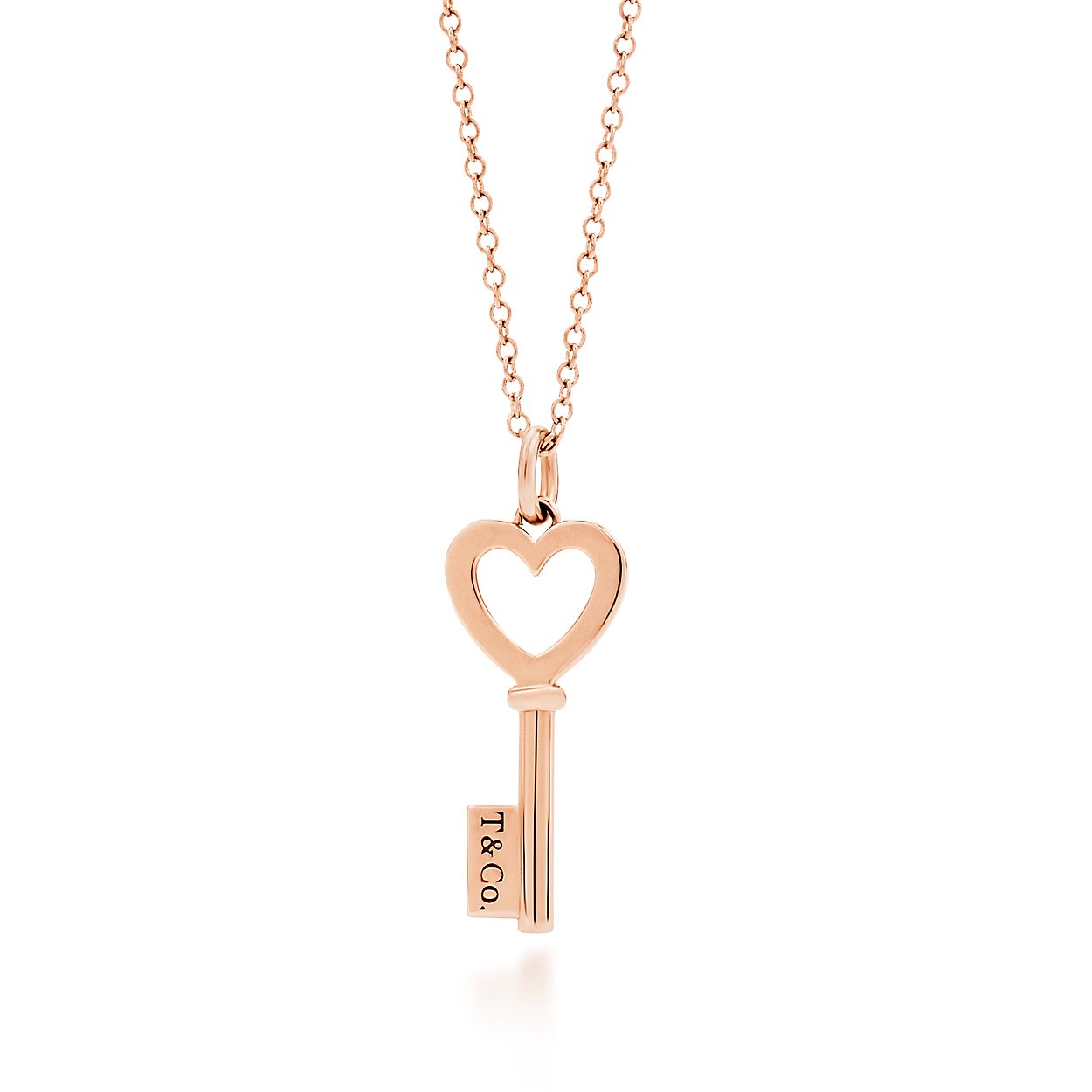 Tiffany Keys heart key pendant in 18k rose gold, mini. | Tiffany & Co.