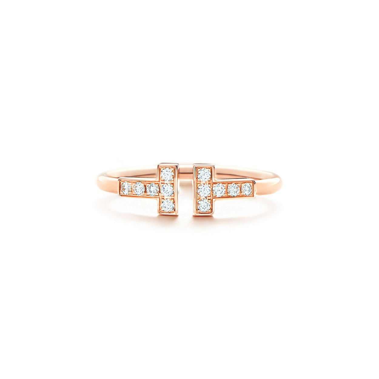 Tiffany T wire ring in 18k rose gold with diamonds. | Tiffany & Co.