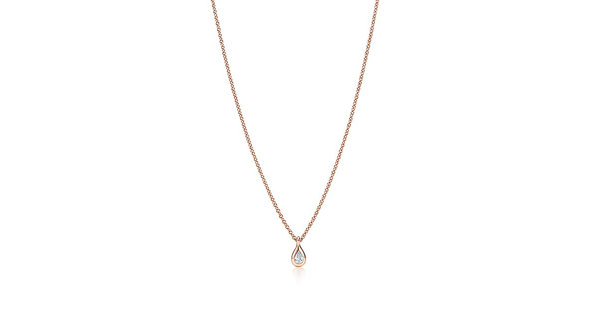 Elsa Peretti® Diamonds by the Yard® pendant in 18k rose gold with a pear-shaped diamond. | Tiffany & Co.