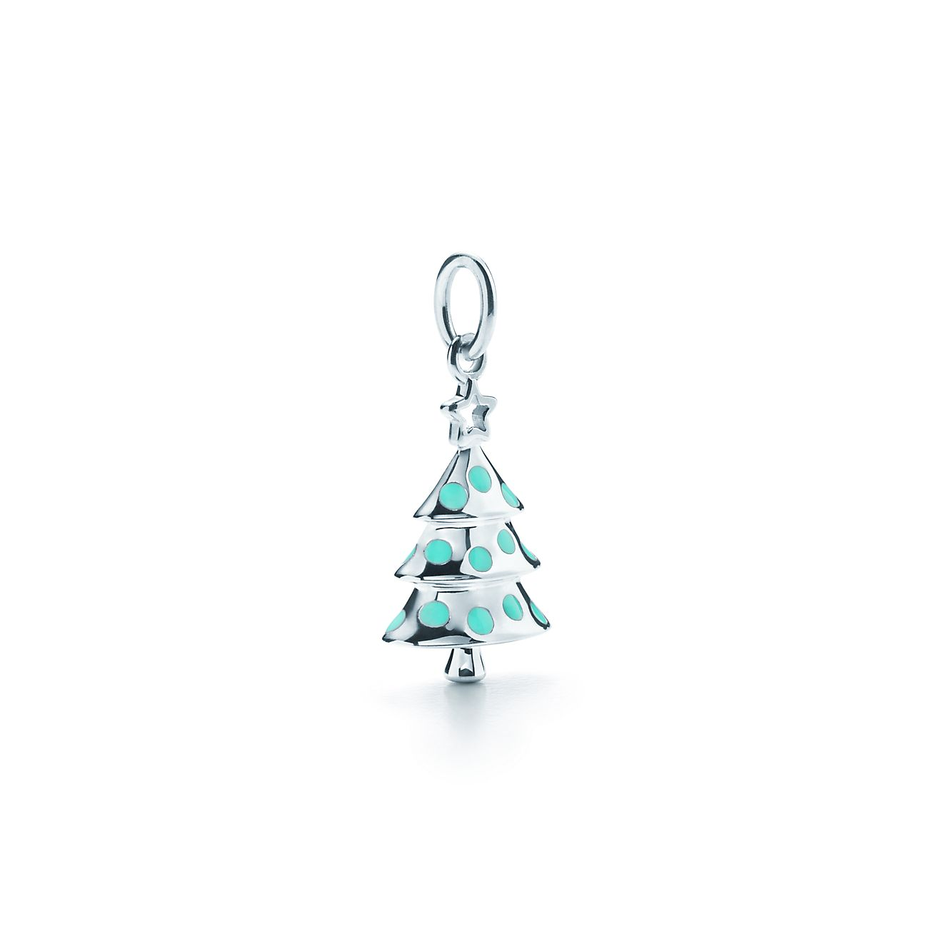 Christmas Tree Charm In Sterling Silver With Tiffany Blue® Enamel  - Christmas Tree Charms