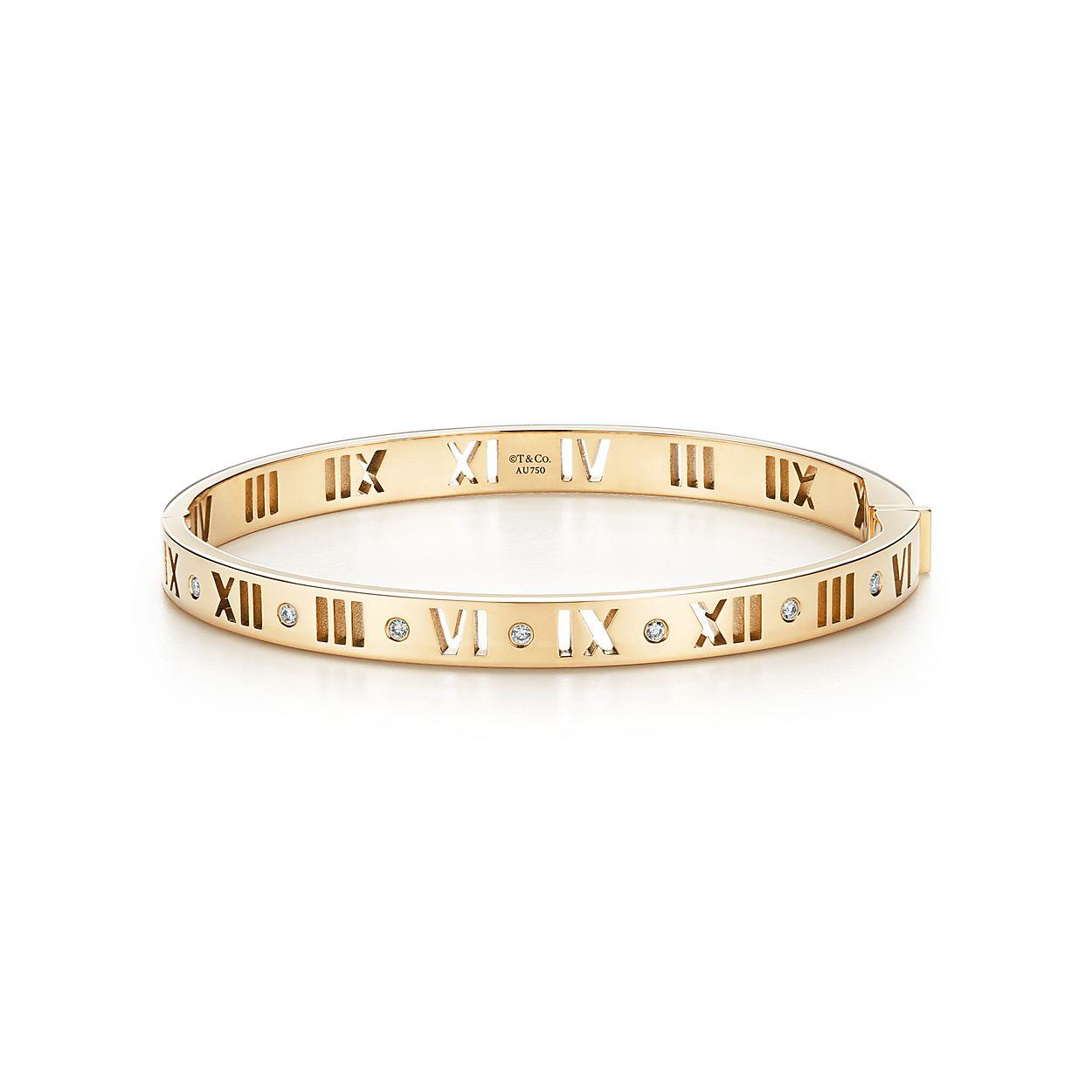 Atlas® 18K Gold and Diamond Narrow Hinged Bangle | Tiffany & Co.