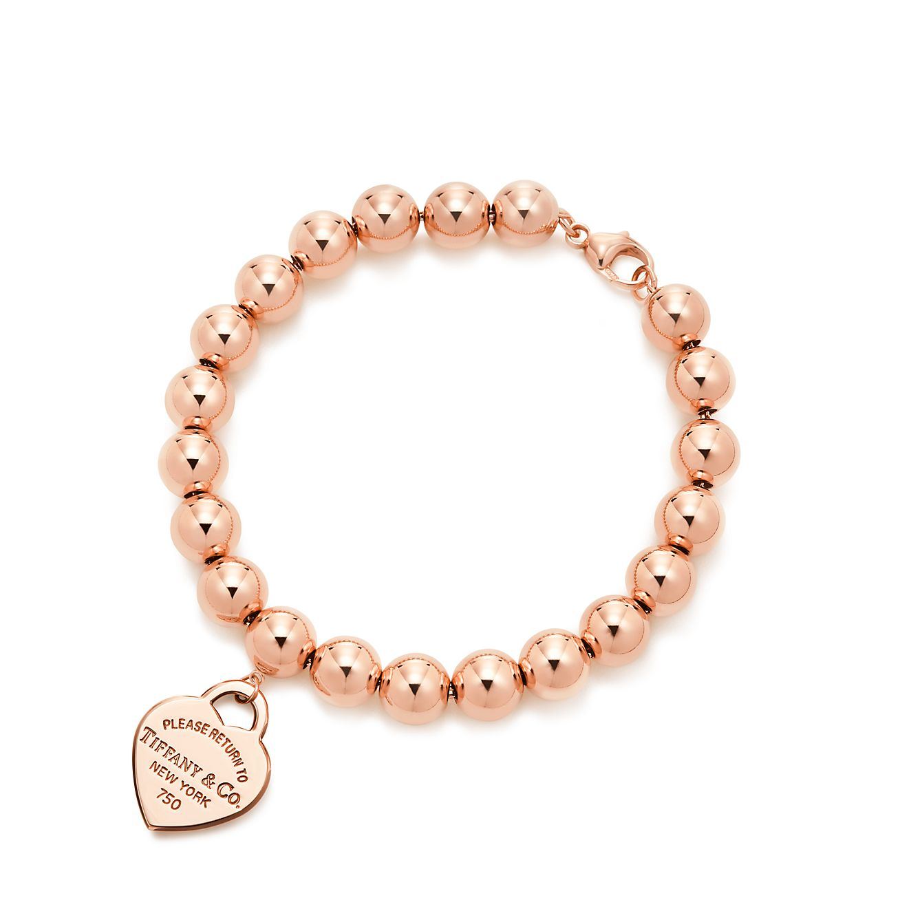 Return to Tiffany® small heart tag in 18k rose gold on a bead ...
