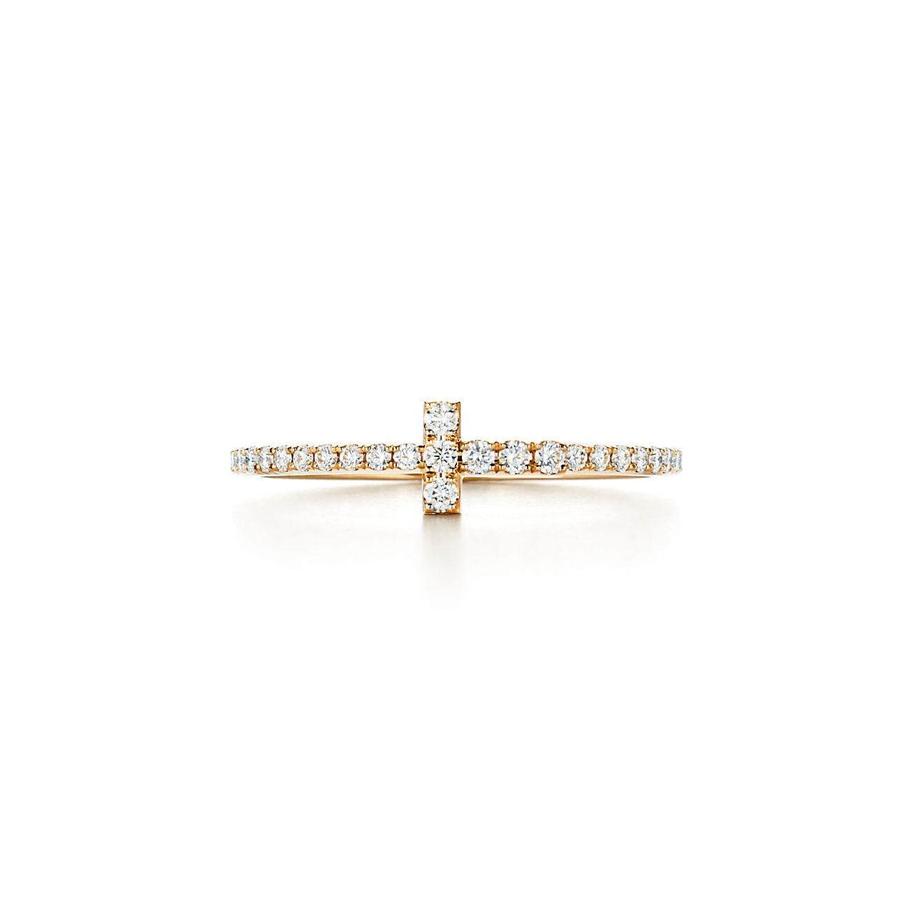 Tiffany T wire ring in 18k gold with diamonds. | Tiffany & Co.