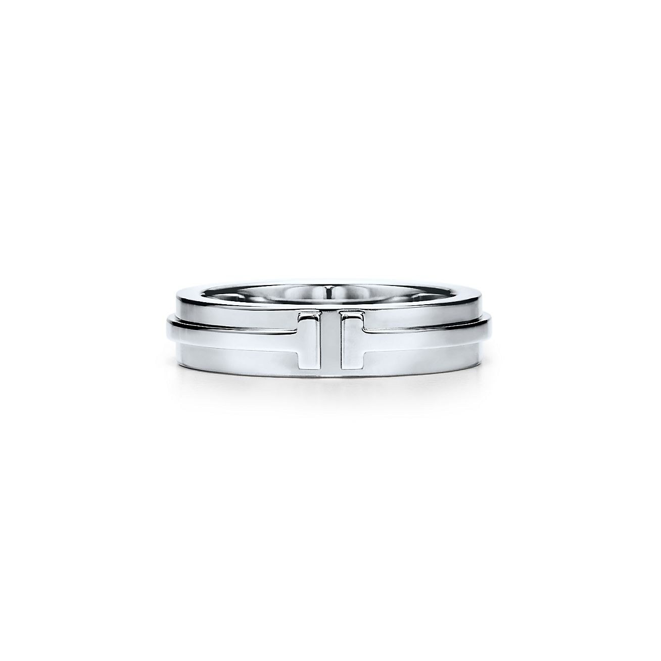 tiffany t two narrow ring in 18k white gold. | tiffany & co.
