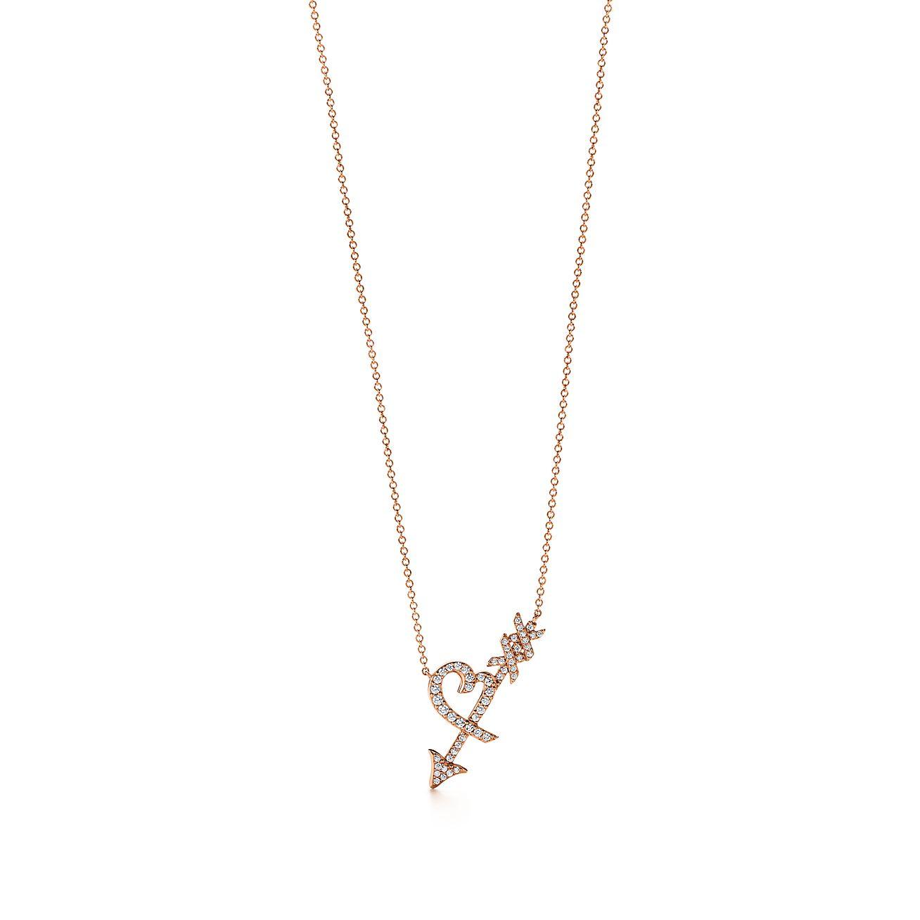 Palomas graffiti heart arrow pendant in 18k rose gold with palomas graffitiheart arrow aloadofball Choice Image