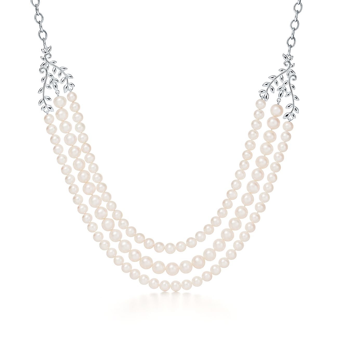 Paloma Picasso® Olive Leaf three-row pearl necklace in sterling ...