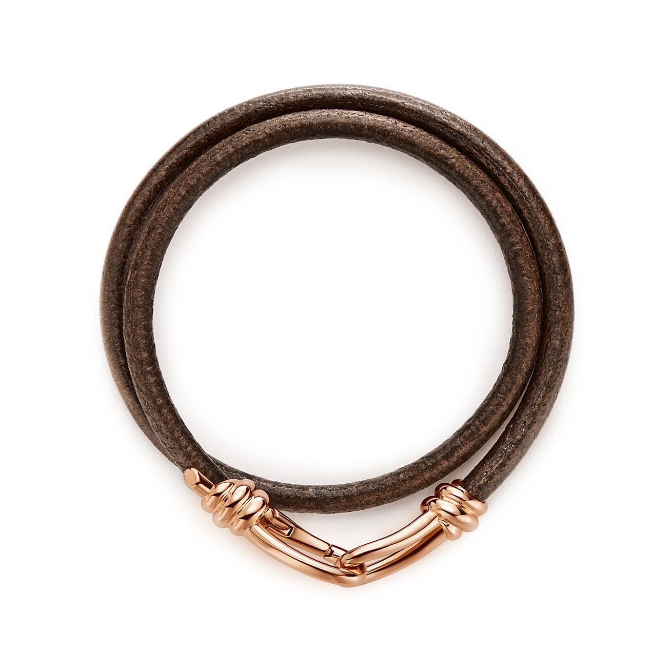 Paloma Picasso® Knot wrap bracelet of 18k rose gold and leather ...