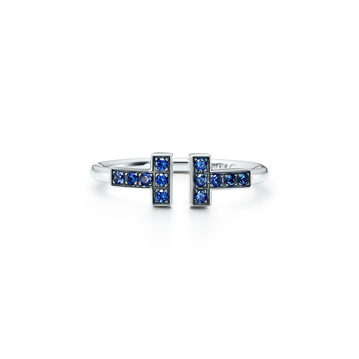 Tiffany T wire ring in 18k white gold with sapphires. | Tiffany & Co.