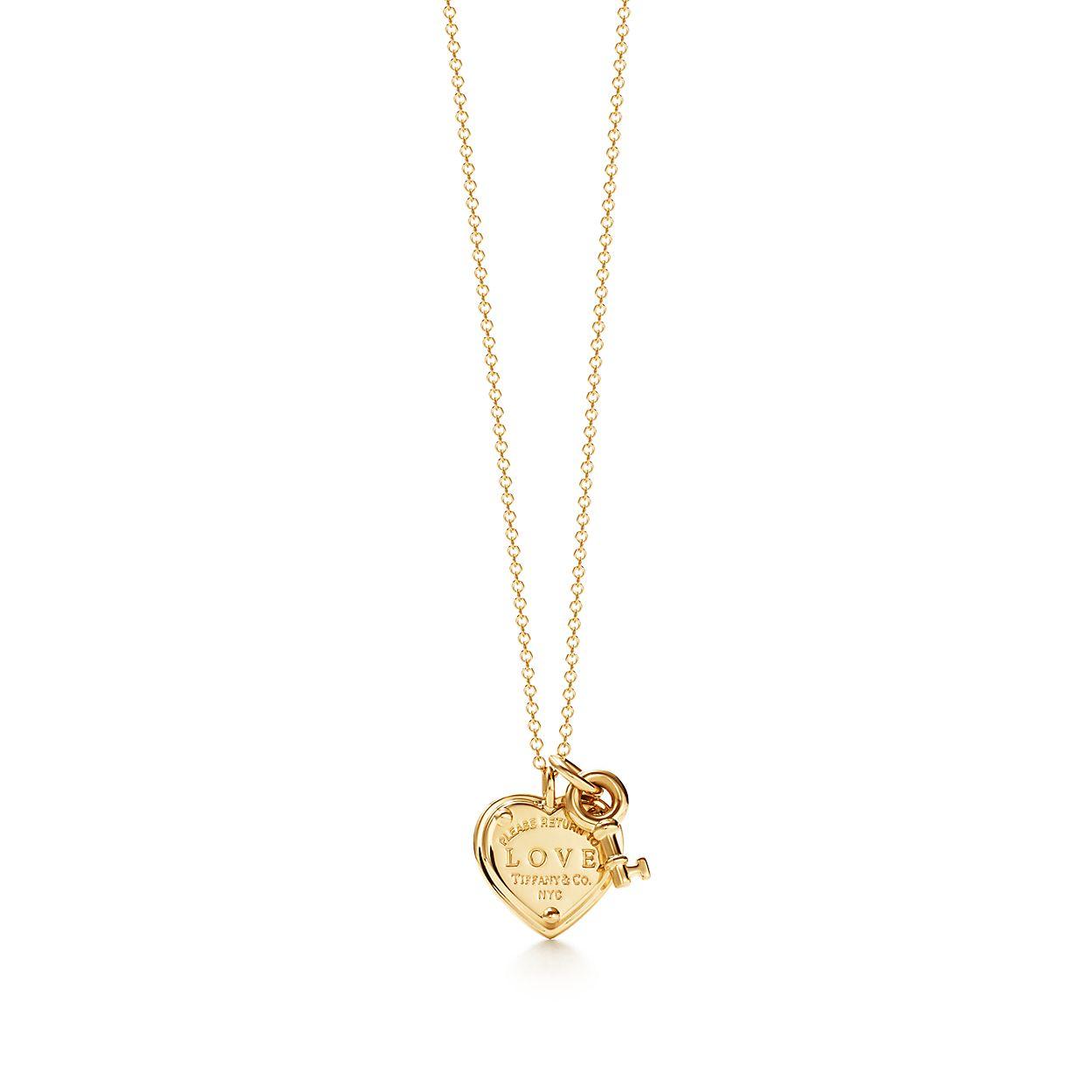 Return to Tiffany® Love heart tag key pendant in 18k gold ...