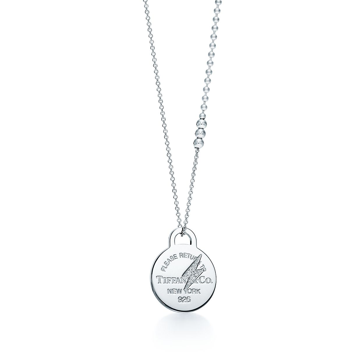 Return to tiffany etched lightning bolt pendant in silver with return to tiffanyetched lightning boltbrpendant mozeypictures Choice Image