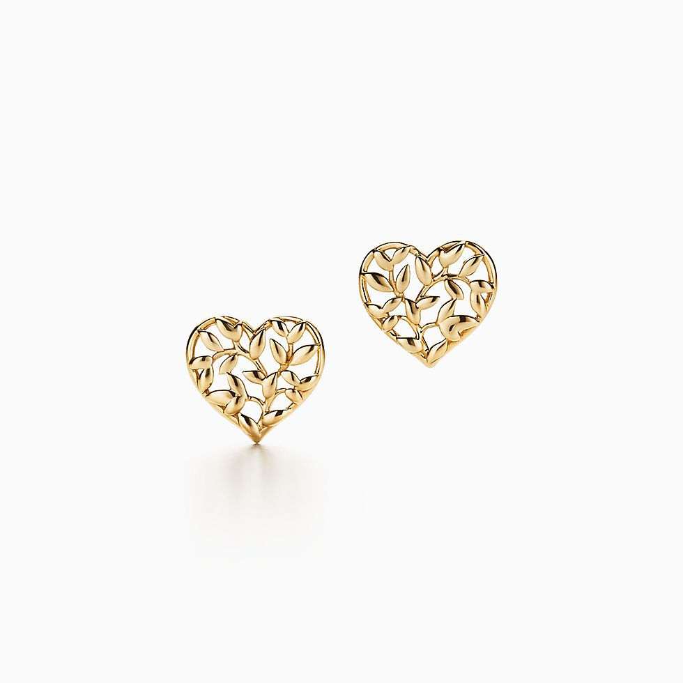 New Paloma Picasso® Olive Leaf Heart Earrings In 18k Gold