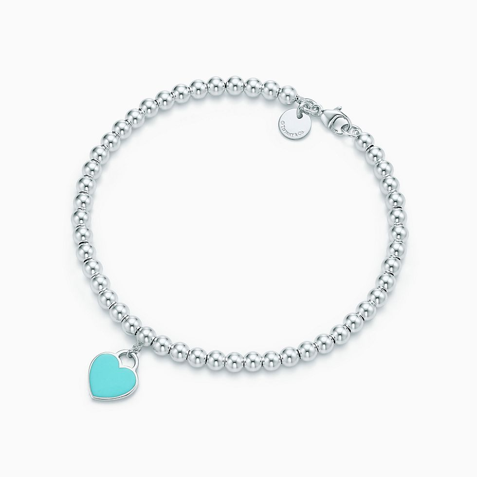 Drop A Hint For Return To Tiffany Mini Heart Tag In Sterling Silver On Bead Bracelet Now
