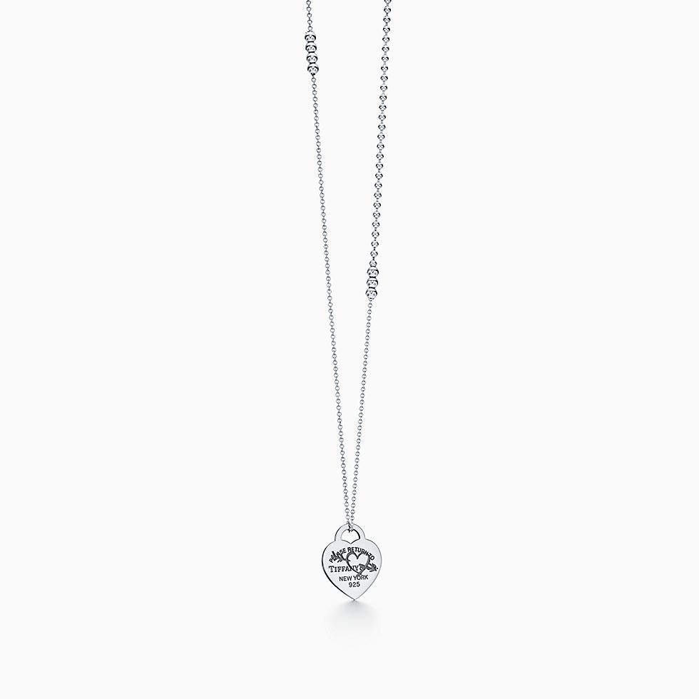 Now For Return To Tiffany Etched Heart And Arrow Pendant In Sterling Silver Large