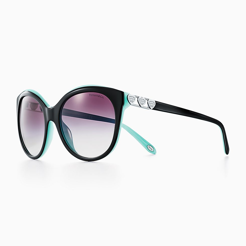 new return to tiffany love round sunglasses in black and tiffany blue acetate