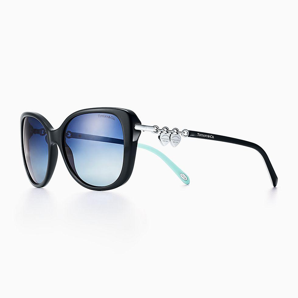 new return to tiffany rectangular sunglasses in black and tiffany blue acetate