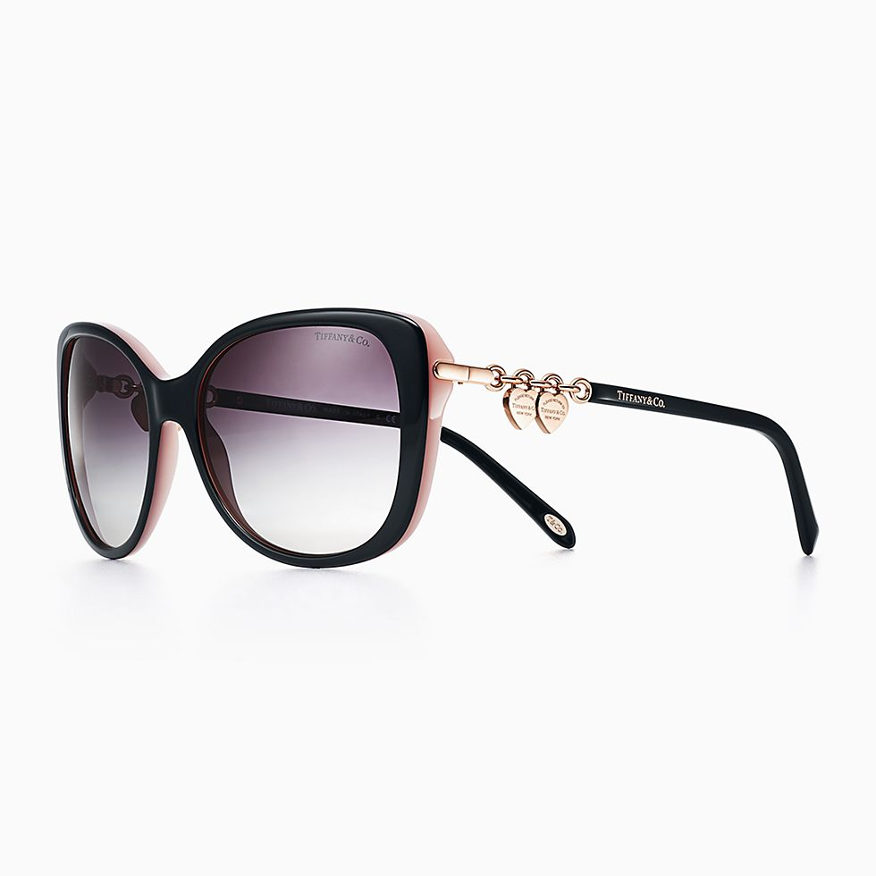 new return to tiffany rectangular sunglasses in black and pink acetate