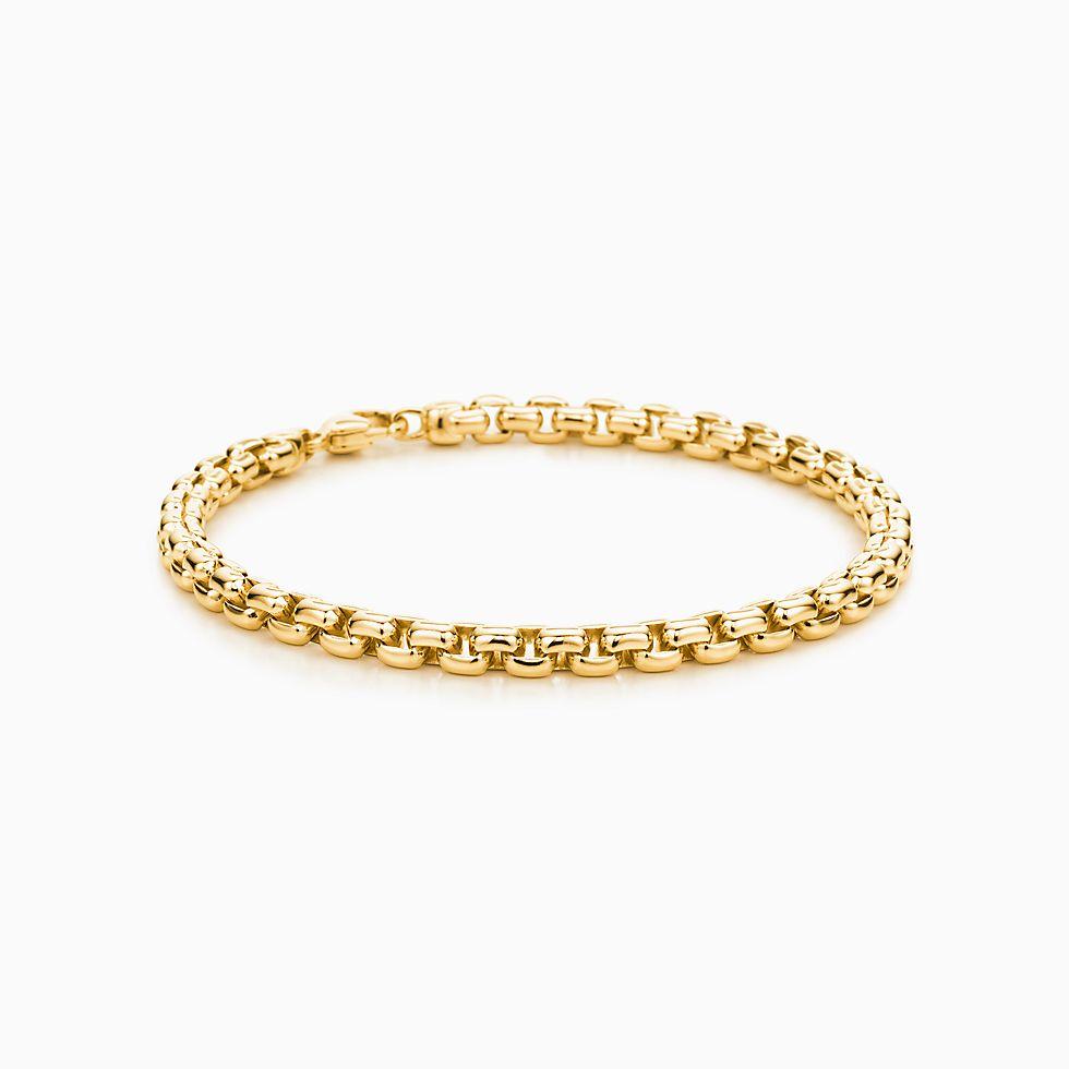 New Square Link Men's Bracelet In 18k Gold