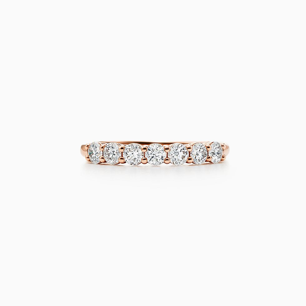 new tiffany embrace band ring in 18k rose gold with diamonds 3 mm wide - Women Wedding Rings
