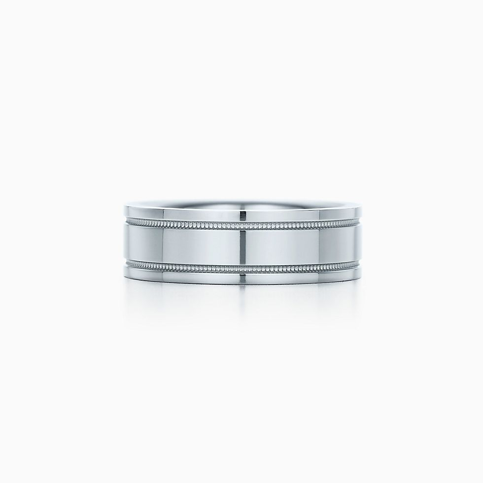New Tiffany Flat double milgrain wedding band ring in platinum, 6 mm wide.