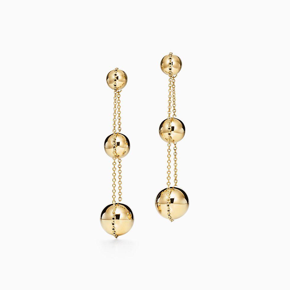 New Tiffany Hardwear Triple Drop Earrings In 18k Gold