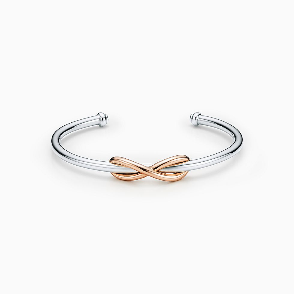 New Tiffany Infinity Cuff In Sterling Silver And 18k Rose Gold, Large