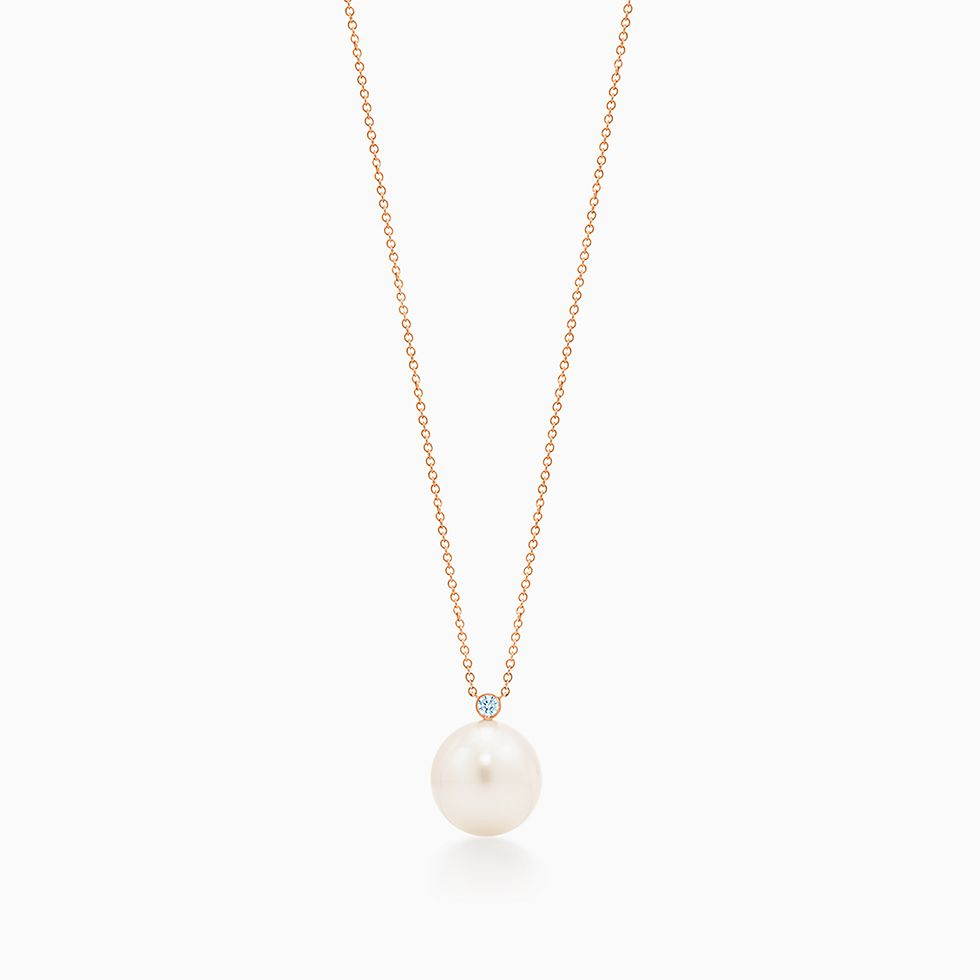 New Pendant In 18k Rose Gold With South Sea Cultured Pearls And Diamonds