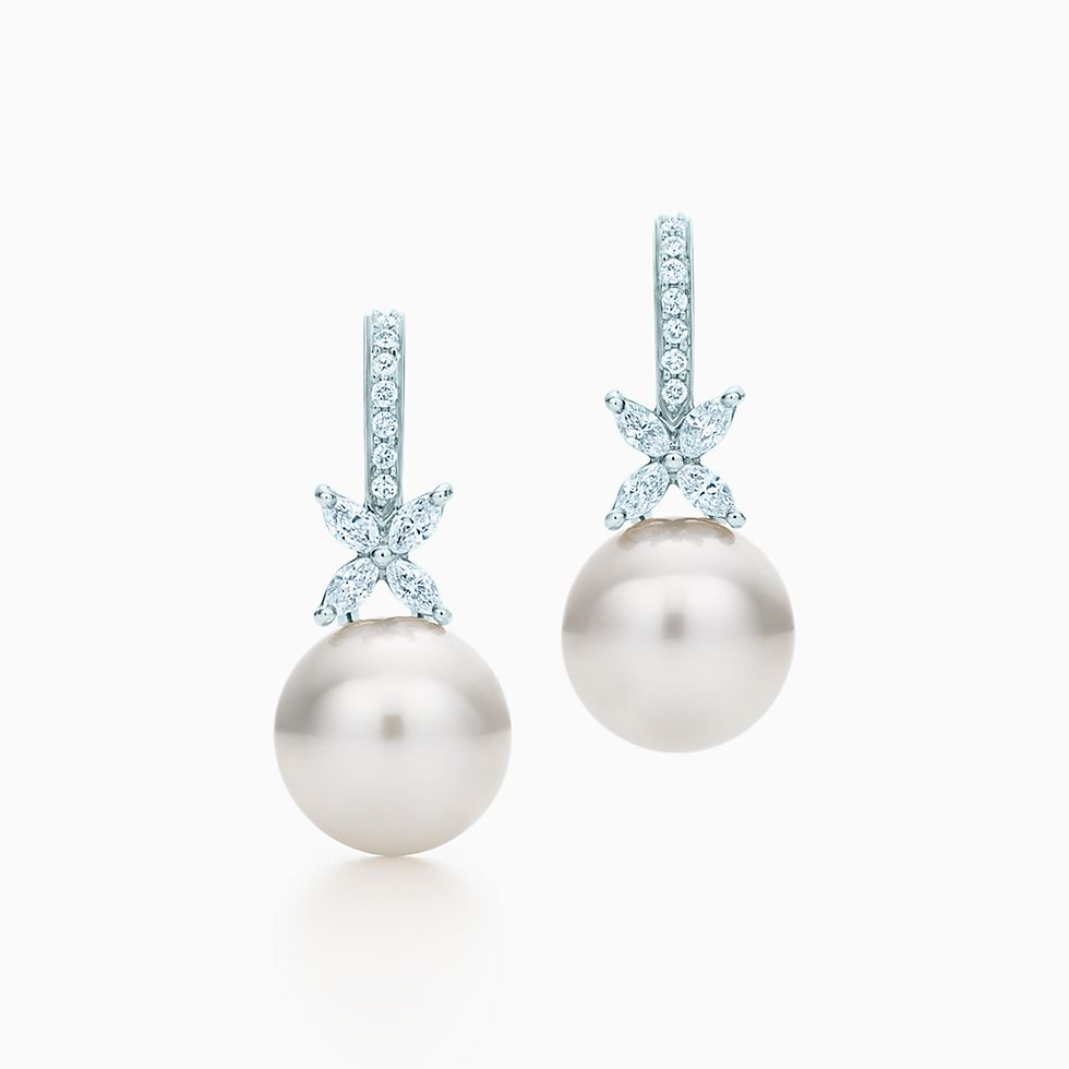 New Tiffany Victoria™ Earrings In Platinum With South Sea Pearls And  Diamonds