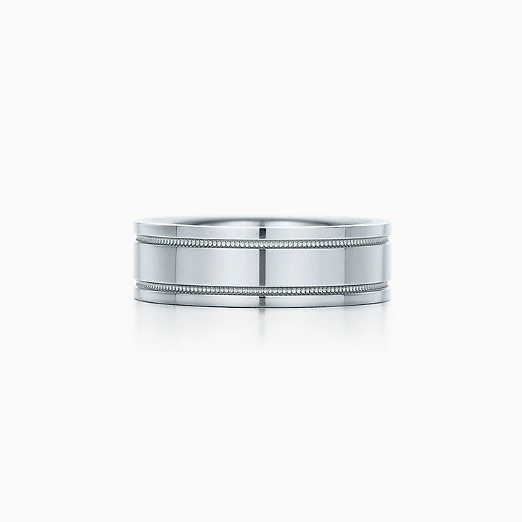 novedades argolla de matrimonio con milgrain doble tiffany en platino mm de ancho