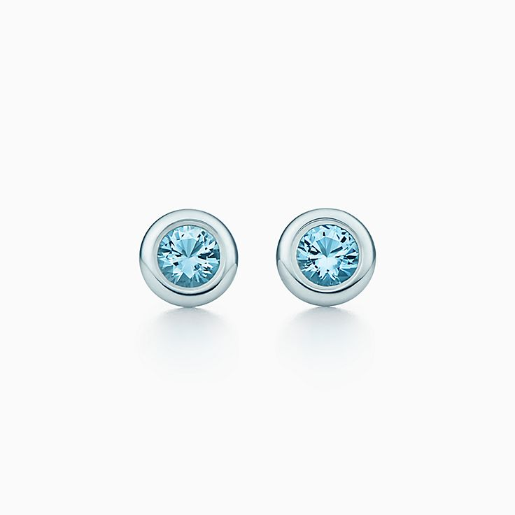 new elsa peretti color by the yard earrings in sterling silver with aquamarines - Elsa Peretti Color By The Yard Ring