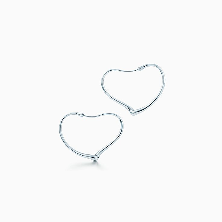 Elsa Peretti® Open Heart hoop earrings in sterling silver, small.