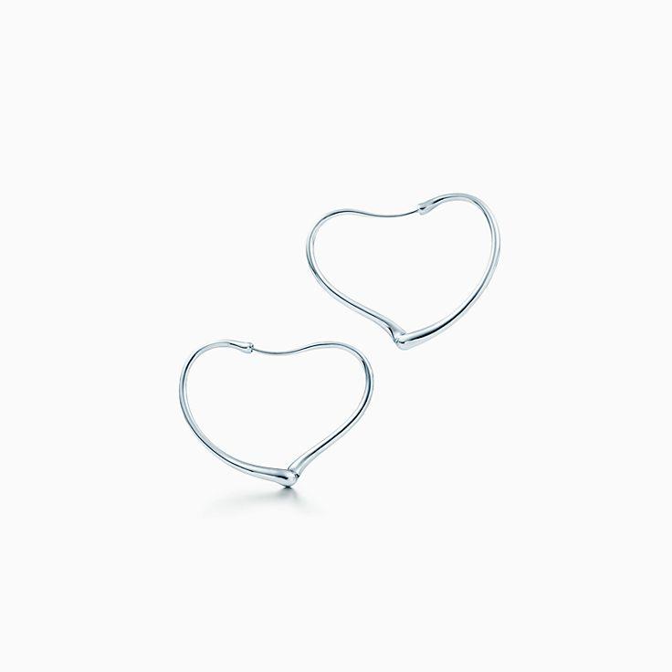 Elsa Peretti® Open Heart hoop earrings in sterling silver, small.
